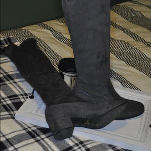 Chinese Laundry thigh high grey boots